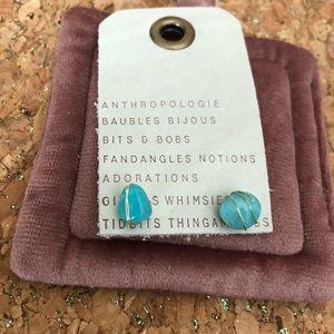 NWT Anthropologie stone mini earrings green